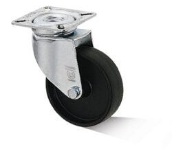 Kolo L-AL-PAA-050-G-3-VPE4-Přístrojové kolo s diskem z vysoce hodnotné umělé hmoty s kluzným ložiskem a lehkou otočnou vidlicí z ocelového pozinkovaného plechu.
