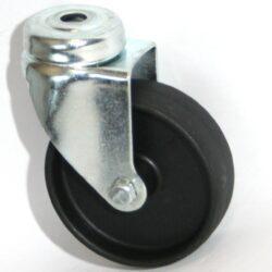 Kolo 1350/100-1/VE4-Přístrojové kolo s diskem z vysoce hodnotné umělé hmoty s kluzným ložiskem a lehkou otočnou vidlicí z ocelového pozinkovaného plechu s otvorem na šroub.