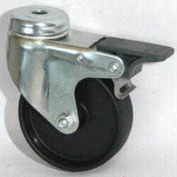 Kolo 1350F/075-1/VE4-Přístrojové kolo s diskem z vysoce hodnotné umělé hmoty s kluzným ložiskem, lehkou otočnou vidlicí z ocelového pozinkovaného plechu s otvorem na šroub a brzdou.