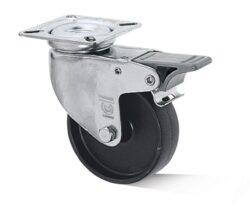 Kolo L-AL-PAA-100-G-3-DSN-VPE4-Přístrojové kolo s diskem z vysoce hodnotné umělé hmoty s kluzným ložiskem, lehkou otočnou vidlicí z ocelového pozinkovaného plechu a brzdou.