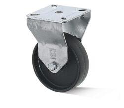 Kolo B-AL-PAA-050-G-VPE4-Přístrojové kolo s diskem z vysoce hodnotné umělé hmoty s kluzným ložiskem a lehkou pevnou vidlicí z ocelového pozinkovaného plechu.