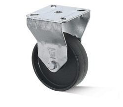 Kolo B-AL-PAA-075-G-VPE4-Přístrojové kolo s diskem z vysoce hodnotné umělé hmoty s kluzným ložiskem a lehkou pevnou vidlicí z ocelového pozinkovaného plechu.