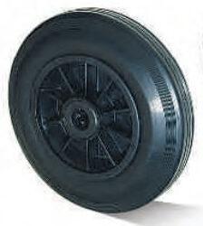 Kolo SGK-125-38-50-R15-Standardní plnopryžové kolo s plastovým diskem a válečkovým ložiskem.
