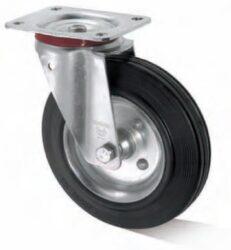 Kolo LI-IS-SGS-080-R-3-Plnopryžové kolo s ocelovým diskem, válečkovým ložiskem a standardní otočnou vidlicí z ocelového pozinkovaného plechu.