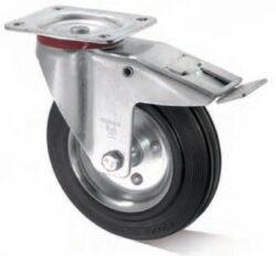 Kolo L-IS-SGS-080-R-3-DSN-Plnopryžové kolo s ocelovým diskem s válečkovým ložiskem, standardní otočnou vidlicí z ocelového pozinkového plechu a brzdou.
