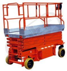 JCPT9.5 - zdvižná pracovní plošina, vysokozdvih-Zdvižná pracovní plošina s AKU zdvihem a pojezdem, vysokozdvih, nosnost 400 kg, výška zdvihu 9500 mm, rozměry ložné plochy 2560x1120 mm